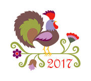 Vector illustration of rooster, symbol of 2017 on the Chinese ca. Lendar. Folk art styled illustration of colored Rooster Royalty Free Stock Photography