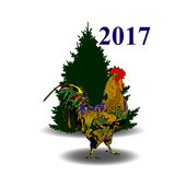 Vector illustration of rooster, symbol of 2017 on the Chinese calendar. Silhouette of  cock. Vector element for New Year`s design. Image of 2017 year of Royalty Free Stock Image