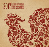 Vector illustration of rooster, symbol of 2017 on the Chinese calendar. Silhouette of red cock, decorated with floral Royalty Free Stock Photos