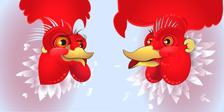Vector illustration of rooster, symbol 2017 on the Chinese calendar.. Vector illustration of rooster, symbol of 2017 on the Chinese calendar. Silhouette of red Royalty Free Stock Photo