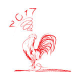 Vector illustration of rooster symbol of 2017. Rooster red line art sketch of cock.Vector illustration of rooster symbol of 2017 on the Chinese calendar Royalty Free Stock Photo