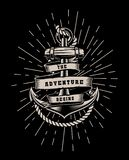 Vector illustration with rope and lettering on a dark background. vector illustration