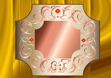 Rose Gold and White Gold frame with white and red crystals Royalty Free Stock Photo