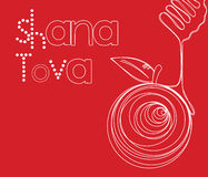 Vector illustration - Rosh Hashana Greeting Card. Vector illustration - Happy New Year (Hebrew) Rosh Hashana greeting card with apple and honey Royalty Free Stock Image