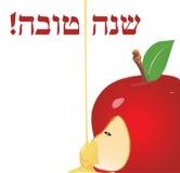 Vector illustration - Rosh Hashana Greeting Card. Vector illustration - Happy New Year (Hebrew) Rosh Hashana greeting card with apple and honey Royalty Free Stock Photos