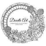Vector illustration  round floral frame. Doodle drawing. Coloring book anti stress for adults. Black white. Royalty Free Stock Photography