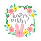 A round frame of flowers with a rabbit. Easter background. Vector illustration a round frame of flowers with a rabbit. Easter background vector illustration