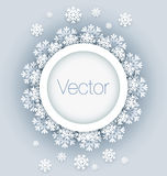 Vector illustration round frame with snowflakes Stock Photo