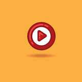 Vector illustration round play button, start button on an orange background. Vector icon red start button, play button Stock Photography
