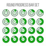 Vector illustration of round progress bar. Circle indicators status. Loading and buffering percentage icon set. Circular interval. Timer. Art design. Abstract vector illustration