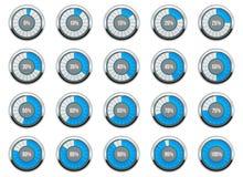 Vector illustration of round progress bar. Circle indicators status. Loading and buffering percentage icon set. Circular interval. Timer. Art design. Abstract royalty free illustration