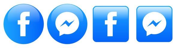 Facebook messenger icons on white royalty free illustration