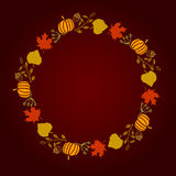 Vector illustration round wreath of autumn leaves yellow green red brown color Royalty Free Stock Image