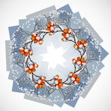 Vector illustration of round wreath with rowan branches. stock illustration