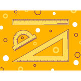 Vector illustration, ruler, triangle and protractor, line art Stock Photo