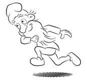 Running garden gnome having fun Stock Images