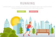 Vector Illustration Running Man. Template for Website and Banner Royalty Free Stock Photo
