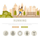 Vector Illustration Running Man. Template for Website and Banner Royalty Free Stock Photos