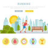 Vector Illustration Running Man. Template for Website and Banner Royalty Free Stock Photography
