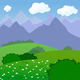 Vector Illustration of a Rural Landscape with Royalty Free Stock Image