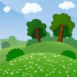 Vector Illustration of a Rural Landscape with Royalty Free Stock Photos
