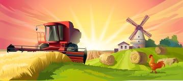 Vector illustration rural summer landscape Royalty Free Stock Image