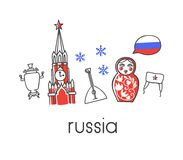 Vector horizontal banner with famous russian symbols and the national flag of Russia. Vector illustration Russia with hand drawn doodle russian symbols: Kremlin Royalty Free Stock Photos