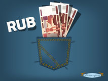 Vector illustration of russia ruble in the pocket of blue jeans Royalty Free Stock Photography