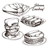 Shrove Tuesday sketch. Vector illustration of Russian blini, hand drawn sketch. For Shrovetide Maslenitsa card Stock Images