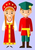 Vector illustration of russian children, boy, girl, people Royalty Free Stock Photo