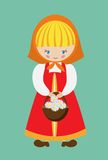 Vector illustration of russian girl. Dressed in sarafan with a basket of daisies Stock Photos