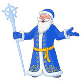 Vector Illustration of russian jolly Ded Moroz with divorced hands and ice staff. Russian jolly Ded Moroz with divorced hands and ice staff. Vector Illustration Stock Photo