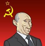 Vector illustration of Russian president Putin on Soviet flag Royalty Free Stock Image