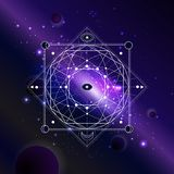 Vector illustration of Sacred or mystic symbol against the space background with galaxy and stars. Abstract geometric sign drawn in lines. Multicolored stock illustration