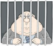 Corrupt official behind bars. Vector illustration of a sad corrupter with a sour face in a prison Royalty Free Stock Photo