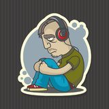 Sad man in headphones stock illustration