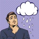 Vector illustration of sad man, retro pop art comic style. Vector illustration of sad, upset man looking at crying cloud in retro pop art comic style. It is Stock Photos