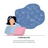 Vector illustration, sad teenage girl. Cyberbullying, trolling concept. royalty free illustration