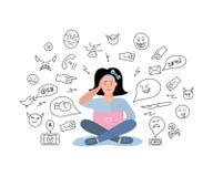 Vector illustration, sad teenage girl. Cyberbullying, trolling. royalty free illustration