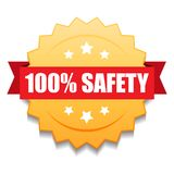 100% safety seal. Vector illustration of 100 safety seal golden red star on isolated white background royalty free illustration