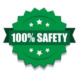 100% safety seal. Vector illustration of 100 safety seal green red star on isolated white background royalty free illustration