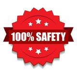 100% safety seal. Vector illustration of 100 safety seal red star on isolated white background royalty free illustration