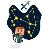Vector illustration of the Sagittarius with a rectangular face. Cartoon Zodiac signs. A schematic arrangement of stars in the constellation Sagittarius Royalty Free Stock Photos