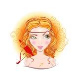 Vector illustration of Sagittarius zodiac sign. Illustration of astrological sign of Sagittarius. Beautiful fantasy girl Royalty Free Stock Image