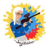 Vector illustration of Sagittarius zodiac sign. Royalty Free Stock Photo