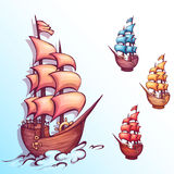 Vector illustration of sail ship with label Royalty Free Stock Image