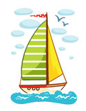 Vector illustration of a sailboat on the sea. Royalty Free Stock Photo