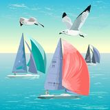Sailing regatta. Yacht Club. Sports competitions on yachts. Water sports. Active lifestyle. royalty free illustration