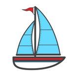 Vector illustration of sailing ship, logo or icon Stock Photo