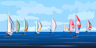Vector illustration of sailing yacht regatta. Royalty Free Stock Image